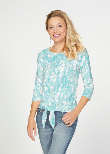 Shadow Aqua (7914) ~ French Terry Tie 3/4 Sleeve Top