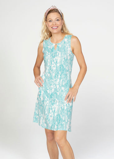 Shadow Aqua (7914) ~ French Terry Keyhole Sleeveless Dress