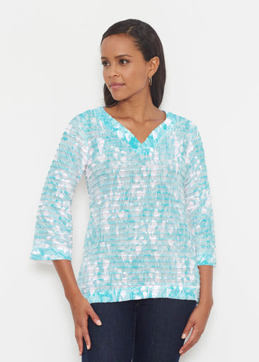 Shadow Aqua (7914) ~ Banded 3/4 Bell-Sleeve V-Neck Tunic