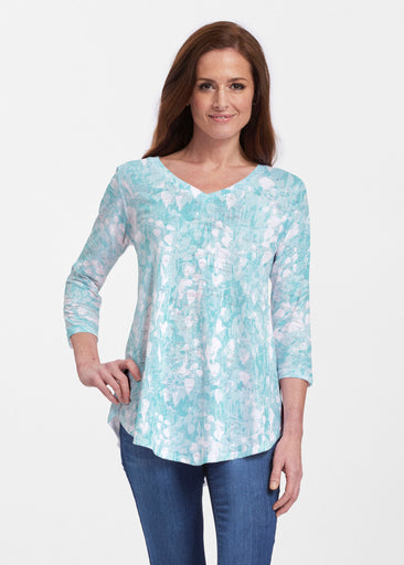Shadow Aqua (7914) ~ V-neck Flowy Tunic