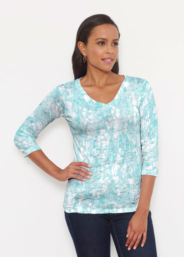 Shadow Aqua (7914) ~ Signature 3/4 V-Neck Shirt