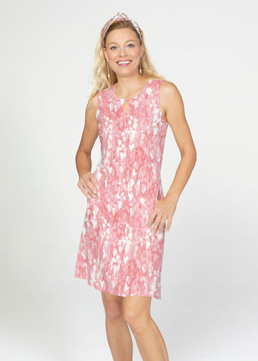 Shadow Coral (7915) ~ French Terry Keyhole Sleeveless Dress