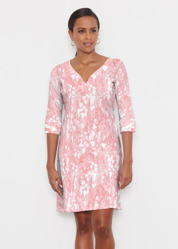 Shadow Coral (7915) ~ Classic 3/4 Sleeve Sweet Heart V-Neck Dress