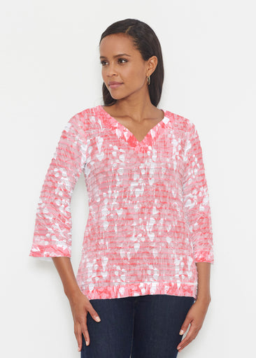 Shadow Coral (7915) ~ Banded 3/4 Bell-Sleeve V-Neck Tunic