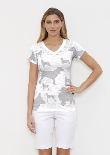 Silver Dogs (9034) ~ Signature Cap Sleeve V-Neck Shirt Front view