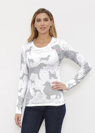 Silver Dogs (9034) ~ ~ Thermal Long Sleeve Crew Shirt Front view