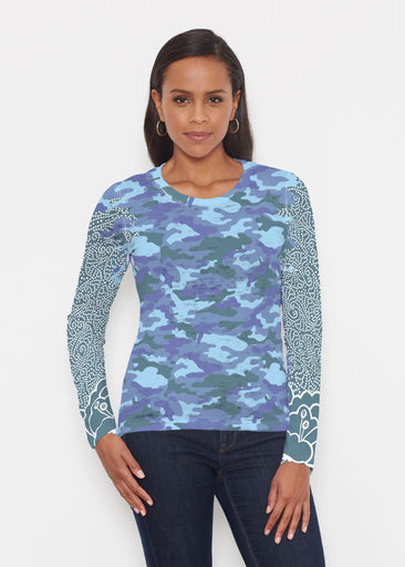 Camo-Floral Blue (9238) ~ Signature Long Sleeve Crew Shirt