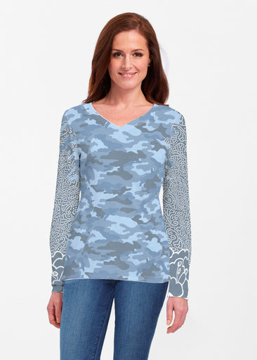 Camo-Floral Blue (9238) ~ Classic V-neck Long Sleeve Top
