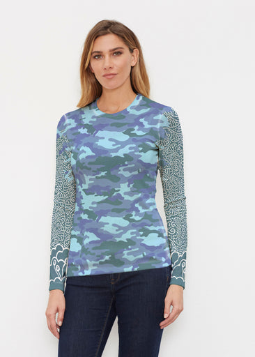 Camo-Floral Blue (9238) ~ Butterknit Long Sleeve Crew Top