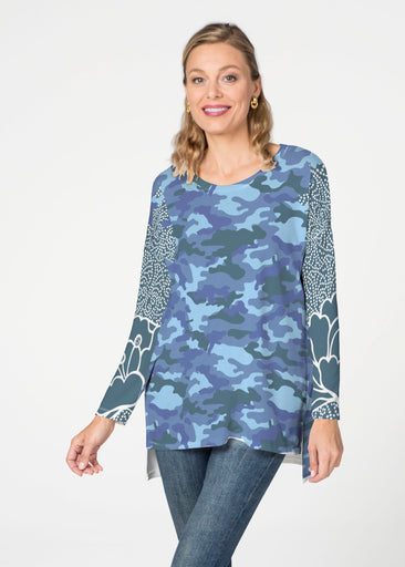Camo-Floral Blue  (9238) Slouchy Butterknit Top