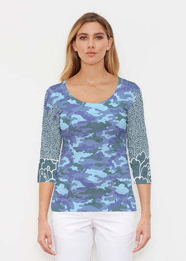 Camo-Floral Blue (9238) ~ Signature 3/4 Sleeve Scoop Shirt