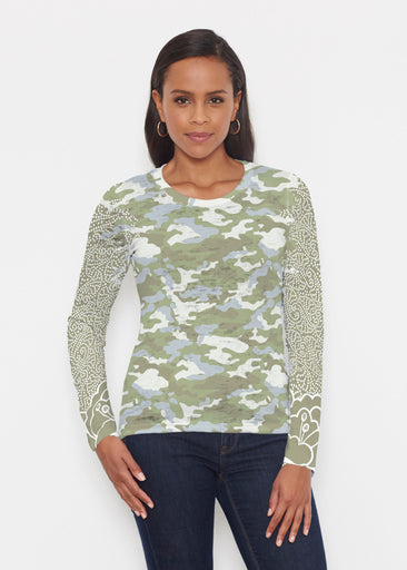 Camo-Floral Green (9239) ~ Signature Long Sleeve Crew Shirt