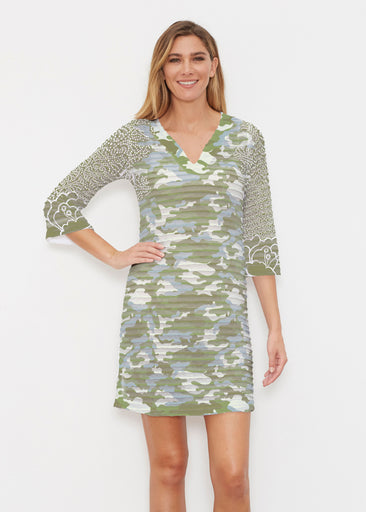 Camo-Floral Green (9239) ~ Banded 3/4 Sleeve Cover-up Dress