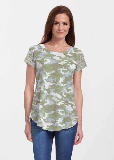 Camo-Floral Green (9239) ~ Signature Short Sleeve Scoop Neck Flowy Tunic