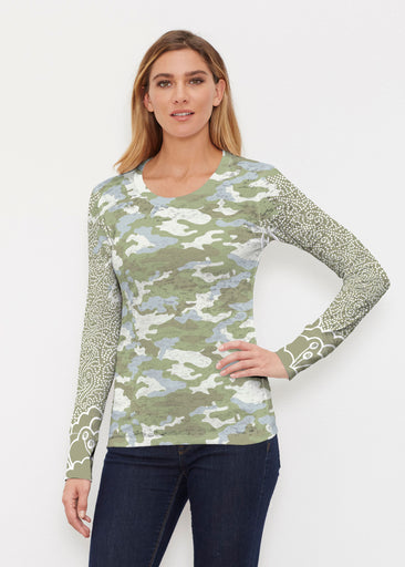 Camo-Floral Green (9239) ~ Thermal Long Sleeve Crew Shirt