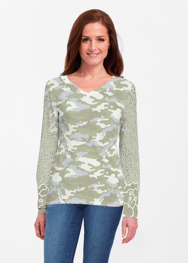 Camo-Floral Green (9239) ~ Classic V-neck Long Sleeve Top