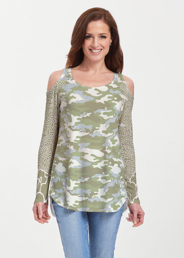 Camo-Floral Green (9239) ~ Butterknit Cold Shoulder Tunic