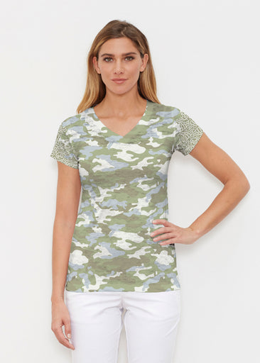 Camo-Floral Green (9239) ~ Signature Cap Sleeve V-Neck Shirt