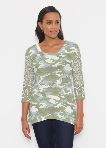 Camo-Floral Green (9239) ~ Katherine Hi-Lo Thermal Tunic