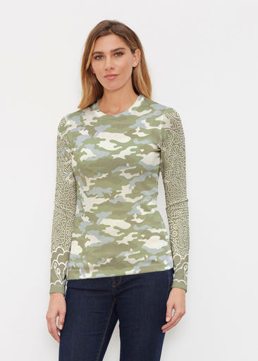 Camo-Floral Green (9239) ~ Butterknit Long Sleeve Crew Top