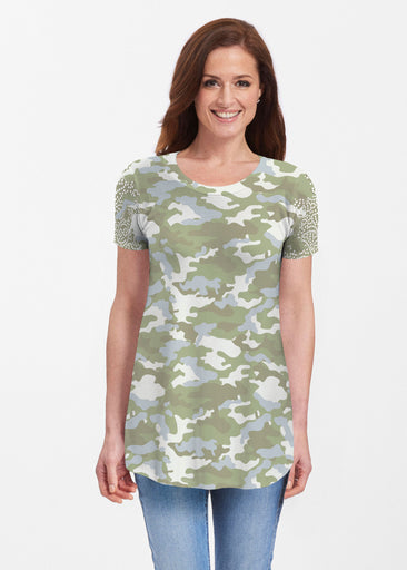 Camo-Floral Green (9239) ~ Butterknit Short Sleeve Tunic