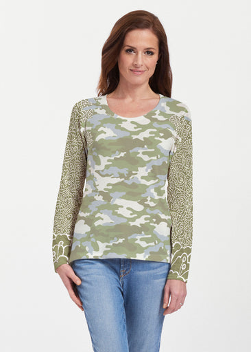 Camo-Floral Green (9239) ~ Texture Mix Long Sleeve