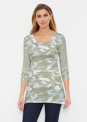 Camo-Floral Green (9239) ~ Buttersoft 3/4 Sleeve Tunic