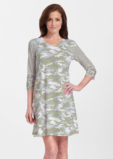 Camo-Floral Green (9239) ~ Classic V-neck Swing Dress
