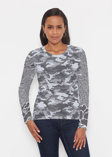 Camo-Floral Grey (9240) ~ Signature Long Sleeve Crew Shirt
