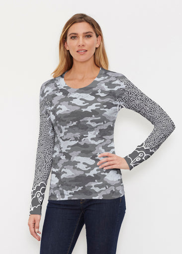 Camo-Floral Grey (9240) ~ Thermal Long Sleeve Crew Shirt