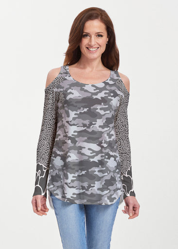 Camo-Floral Grey (9240) ~ Butterknit Cold Shoulder Tunic