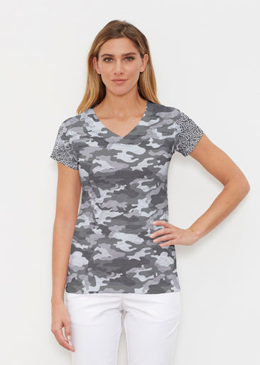 Camo-Floral Grey (9240) ~ Signature Cap Sleeve V-Neck Shirt