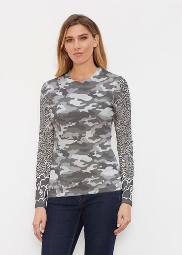 Camo-Floral Grey (9240) ~ Butterknit Long Sleeve Crew Top