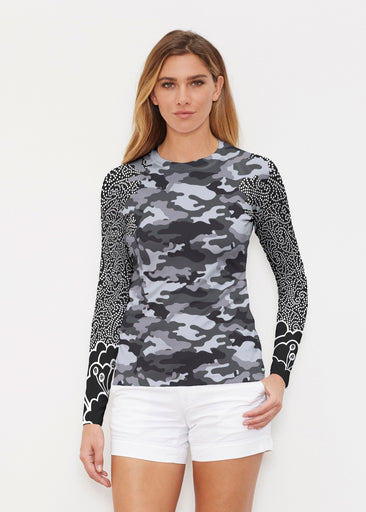 Camo-Floral Grey (9240) ~ Long Sleeve Rash Guard