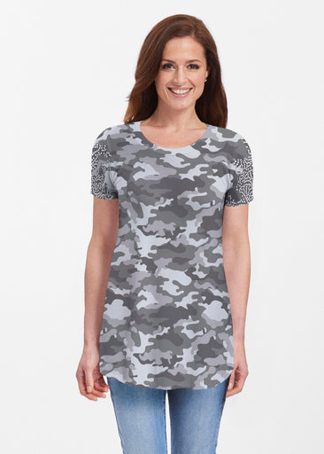 Camo-Floral Grey (9240) ~ Butterknit Short Sleeve Tunic