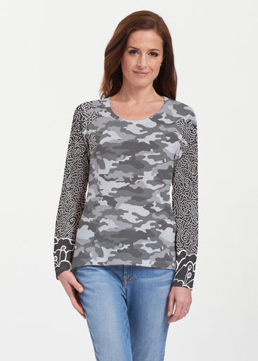 Camo-Floral Grey (9240) ~ Texture Mix Long Sleeve