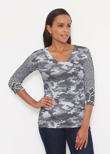 Camo-Floral Grey (9240) ~ Signature 3/4 V-Neck Shirt