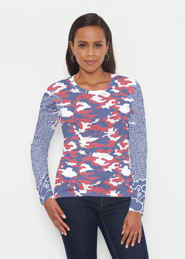 Camo-Floral RWB (9242) ~ Signature Long Sleeve Crew Shirt