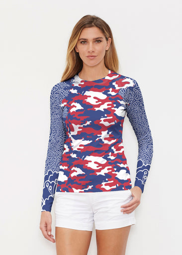 Camo-Floral RWB (9242) ~ Long Sleeve Rash Guard