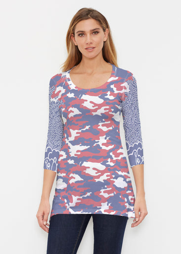 Camo-Floral RWB (9242) ~ Buttersoft 3/4 Sleeve Tunic