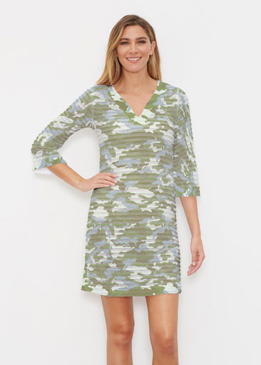 Camo Green (9244) ~ Banded 3/4 Sleeve Cover-up Dress