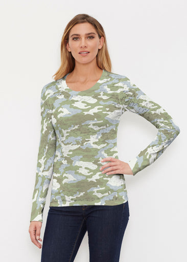 Camo Green (9244) ~ Thermal Long Sleeve Crew Shirt