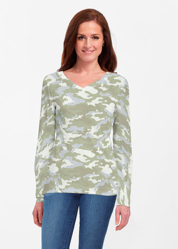 Camo Green (9244) ~ Classic V-neck Long Sleeve Top