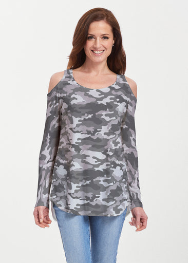 Camo Grey (9245) ~ Butterknit Cold Shoulder Tunic