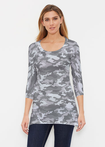 Camo Grey (9245) ~ Buttersoft 3/4 Sleeve Tunic