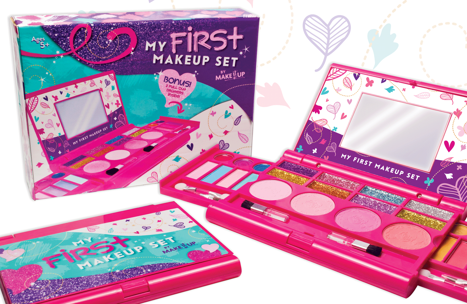My First Make-up Kit, Compact Fold Out Makeup Pallet with Mirror and Secure