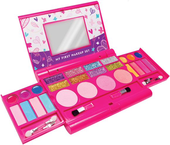 My First Make-up Kit, Compact Fold Out Makeup Pallet with Mirror and Secure Close