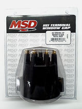 MSD 84333 BLACK Distributor Cap + Wire Retainer for Chevy V8 HEI-Brass Terminals