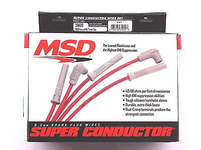 MSD Ignition Super Conductor Spark Plug Wire Set with Big Block Chevy w//HEI Tower Cap PN 35609