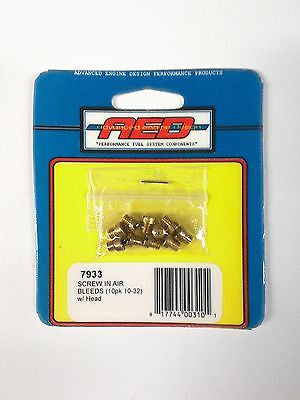 AED 7933 Screw in Air Bleeds 10-32 thread-Brass Blanks-Set of 10